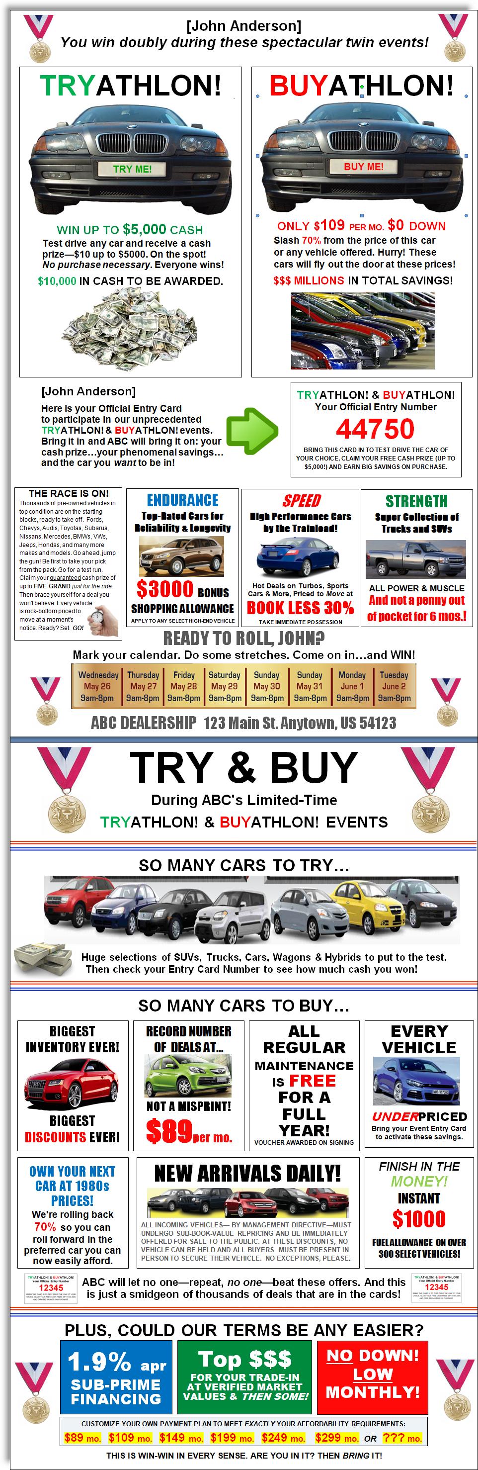 Auto Dealership Sales Flyer Jerry McTigue Copywriter – Car Sale Flyer