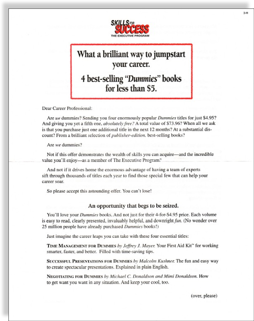 quotdummiesquot book club sales letter jerry mctigue copywriter With sales letter book