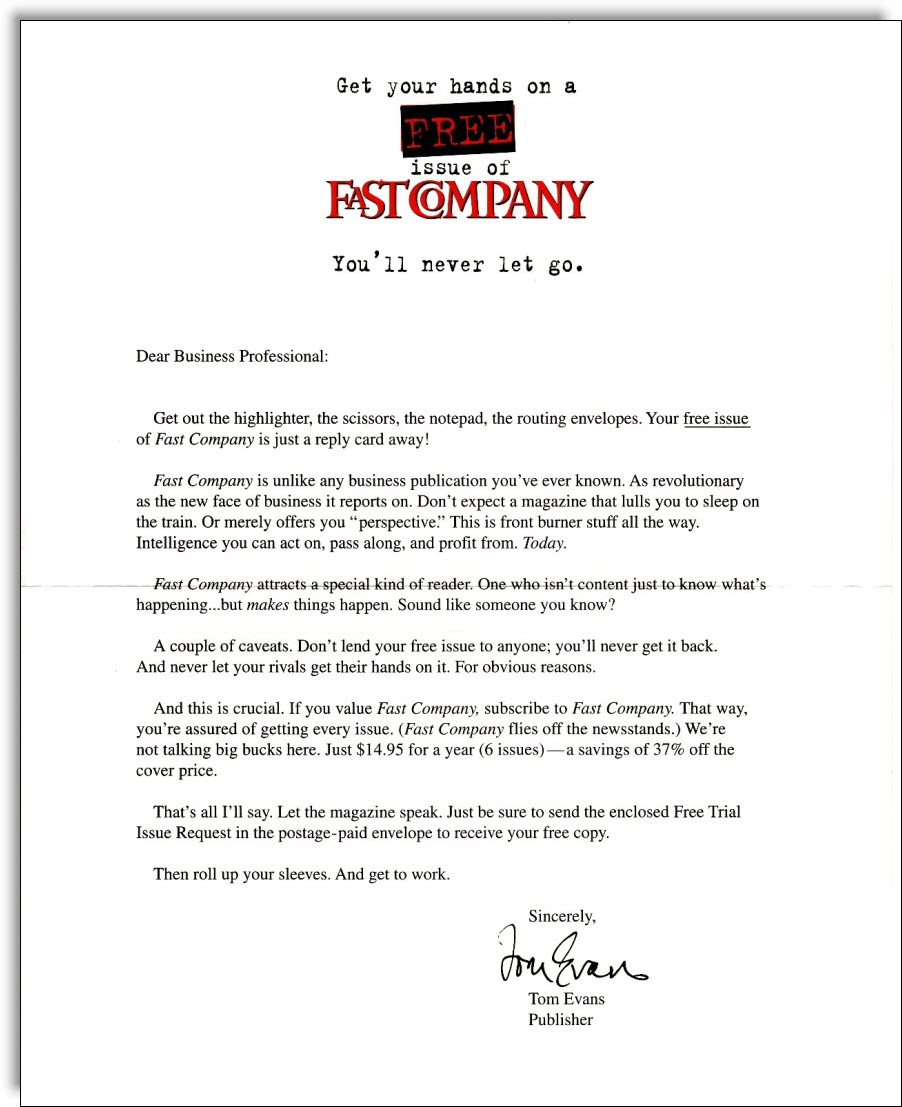 Fast Company Sales Letter
