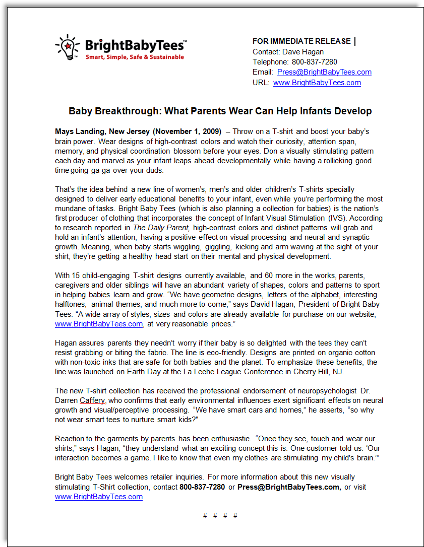 Bright Baby Tees Press Release