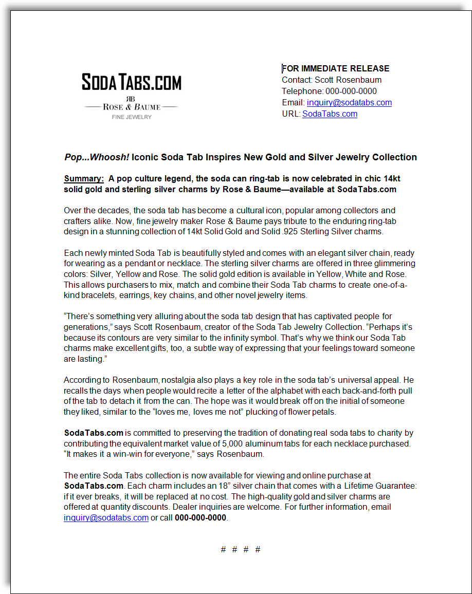 Soda Tabs Jewelry Press Release