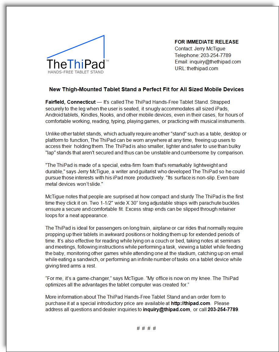 ThiPad Tablet Stand Press Release